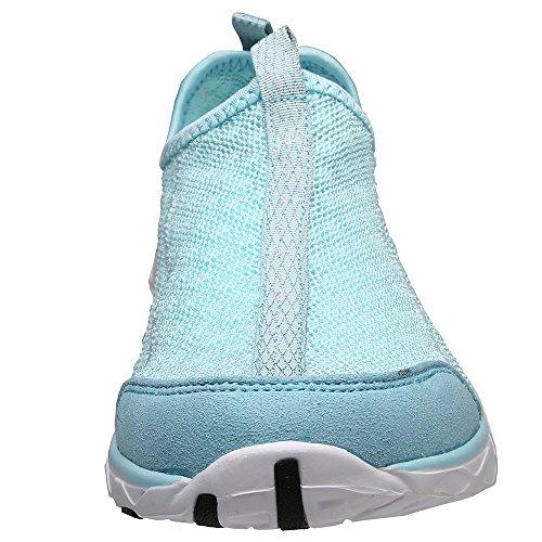 Aleader Mujeres de Malla Slip On Zapatos de Agua Blue8521A