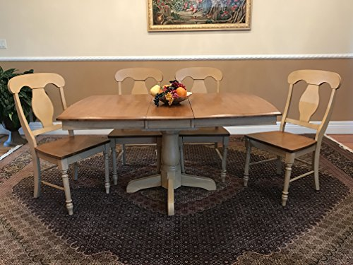 Iconic Furniture BT60-HN-SD BS-BT60-W-SD CH53-HN-SD Boat Shape Napoleon 5-Piece Back 5 Dining Set, Honey Sand