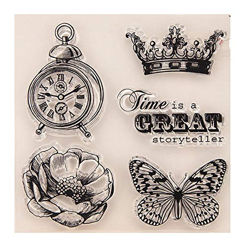 Merssavo Cute DIY Journaling Stencils Reusable Silicone Scrapbooking Bullet Template Craft Decor Accessories Eco-Friendly with Crown, Butterfly, Lotus, Clock Pattern Templates