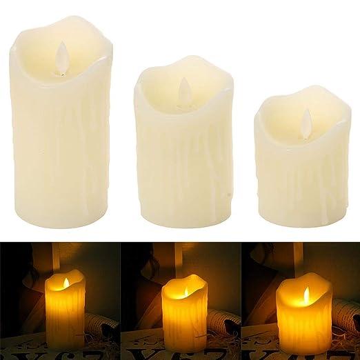 Pack de 3 velas LED con pilas, velas sin llama, velas ...