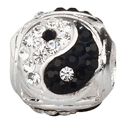 Ollia Jewelry 925 Sterling Silver Beads Tai Chi Symbol Yin Yang Charm with White and Black Austrian Crystals Chinese Style Ball Shape Charms (Charm Symbol Chinese Silver)