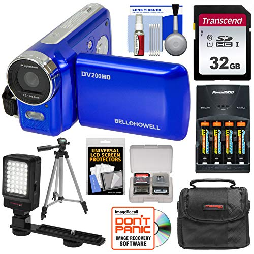 Bell & Howell DV200HD HD Video Camera Camcorder with Built-in Video Light (Blue) with 32GB Card + Batteries & Charger + Case + Tripod + LED Video Light + Kit
