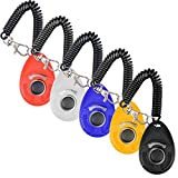 Dog Training Clicker with Wrist Strap Olycism 5pcs Big Button Pet Training Clicker Set Click and Train Dog, Cat, Bird or Other Pets