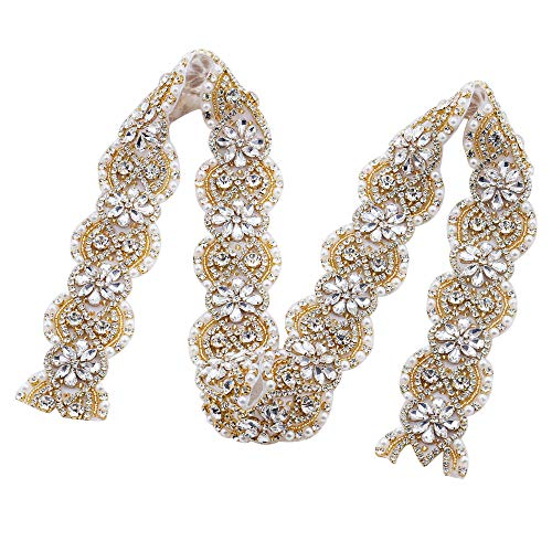 FANGZHIDI Bridal Sash Belt Rhinestone Applique for Wedding Dress, Gold 1 Yard Crystal Trim Bride Applique Decorative Pearls Diamante Beaded Patches Embellishment Decoration Handcrafted (GRA-140A)