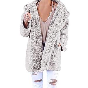 XOWRTE Women's Soft Teddy Long Sleeve Hooded Jacket Coat Jumper with Pocket