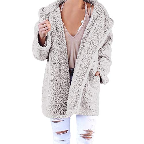 XOWRTE Women's Soft Teddy Long Sleeve Hooded Jacket Coat Jumper with Pocket