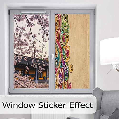 YOLIYANA Stained Glass Window Film,Tribal,for Bathroom Shower Door Heat Cotrol Anti UV,Traditional African Folk Art Pattern with Hand Drawn,24
