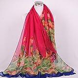 Onlineb2c Women's Cotton Linen Long Scarf Wraps Pashmina Shawls Red