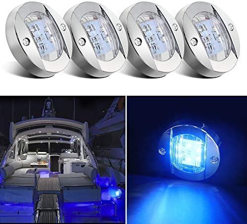 Obcursco Barco Luz LED 12V LED Luz interior de barco para cubierta de barco Luz LED de montaje en espejo de popa Luz LED de cortesía para barco Perfecto para la pesca nocturna 4 piezas