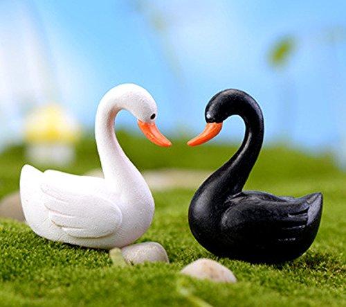 Smilesky Miniature Swan Figure Animal Bird Toys Fairy Garden Decorations White & Black 1 (Pack of 10)