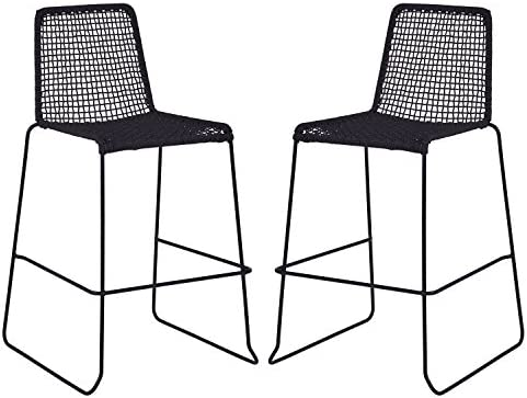 Rivet Dayton Modern Metal Bar Stool, 35 H, Pack of 2, Black