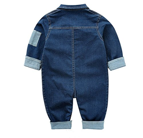Toddler Baby Boys Girls Long Sleeve Denim Romper Jumpsuit Outfit Clothes,12-18 Months,Dark Blue