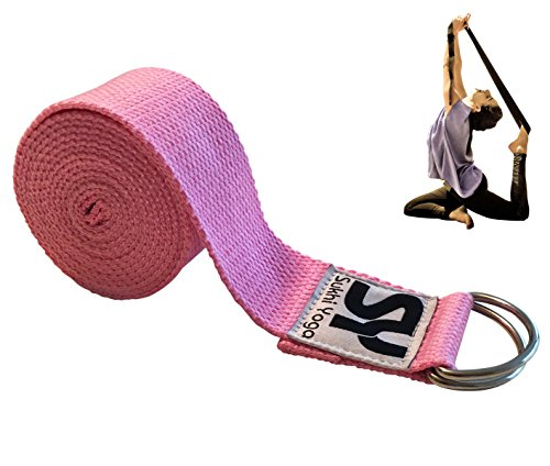 Sukhi Yoga Super Soft Yoga Strap with D-Ring, Perfect for Stretching, Holding Poses, Improving Flexibility and Physical Therapy (Pink)
