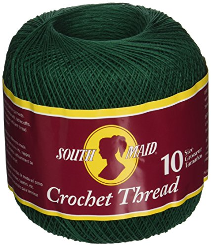 Coats Crochet South Maid Crochet, Cotton Thread Size 10, Forest Green (Forest Green Thread)