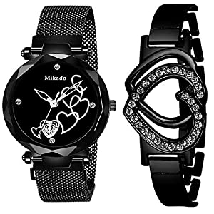 Mikado Black Heart Analog Watch for Women Watch and Bracelet Analog Watch – for Women