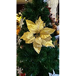 "Sweet Home Deco 10"" Silk Poinsettias Artificial Flower Heads Christmas Holiday Decorations (5 Flower Heads) (Gold 2)"