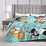 "Delerain Dog Corgi Pug Border Collie Flannel Fleece Throw Blanket 50""x60"" Living Room/Bedroom/Sofa Couch Warm Soft Bed Blanket for Kids Adults All Season 9"