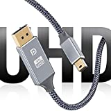 Mini DisplayPort to DisplayPort Cable, Capshi [4K@60Hz] Thunderport 2 to Displayport Super Nylon Braid Gold-Plated Cable, UHD High Speed Cable Compatible MacBook Air/Pro, Surface Pro/Dock 6.6Ft- Grey