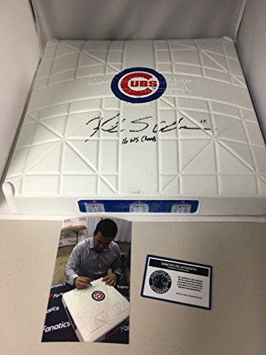 Kyle Schwarber Autographed Signed Chicago Cubs Rare Custom Authentic World Series Champions Base Comes With COA & Hologram and Photo From Signing