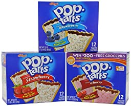 Kellogg\'s Poptarts Frosted Toasters, 24-Strawberry, 12-Blueberry and 12-Cherry, 88 ounce