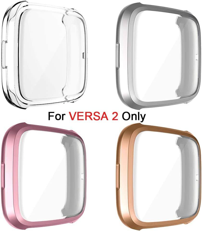 TPU Rugged Bumper Case Cover All-Around Protective Plated Bumper Shell Accessories OenFoto Screen Protector Case Compatible with Fitbit Versa 2 Scratch-Proof for Fitbit Versa 2 Smartwatch 4-Pack
