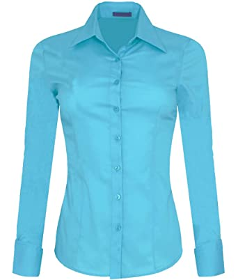 c9a58cbc195 Iron Puppy Womens Long Sleeve Skinny Button Down Collared Shirts With  Stretch Small Aqua