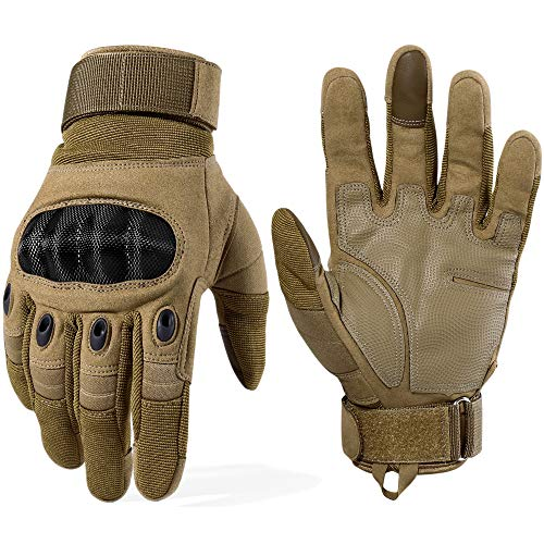 WTACTFUL Touchscreen Motorcycle Tactical Full Finger Gloves for Airsoft Paintball Cycling Motorbike ATV Hunting Hiking Riding Racing Climbing Operating Work Outdoor Sports Gloves Size Large Brown