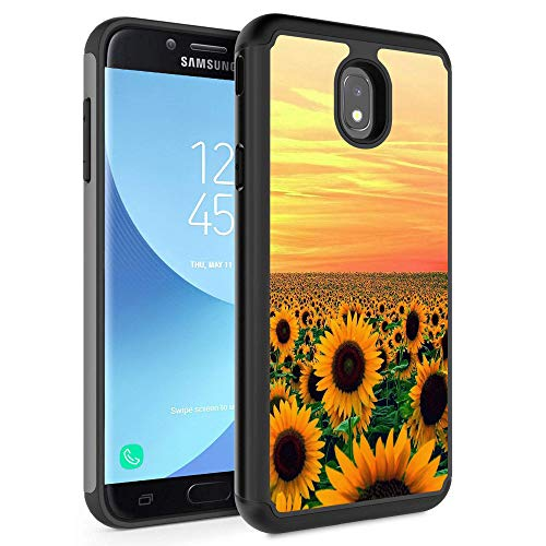 (Galaxy J3 2018/J3 Express Prime 3/J3 Star/J3 Achieve Case,Rossy Hybrid TPU Plastic Dual Layer Armor Defender Protection Case for Samsung Galaxy J3 2018,Sunflower Sky Field Yellow Flowers)