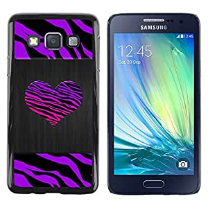 Exotic-Star ( Stripes Heart Brushed Metal Purple ) Fundas Cover Cubre Hard Case Cover para Samsung Galaxy A3 / SM-A300