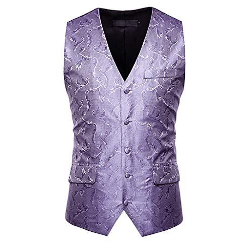 MIS1950s Mens Print Single-Breasted Waistcoat Sequins Suit Vest Jacket Top Coat