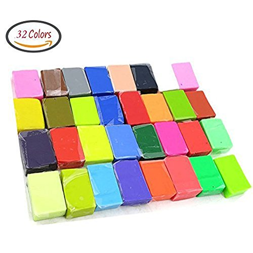 Large Top Drilled Chip (DIY Colored Clay 32 Colors DIY Creative Street Model Clay Soft Molded Oven Baking Clay Tutorial Best gift for Children)