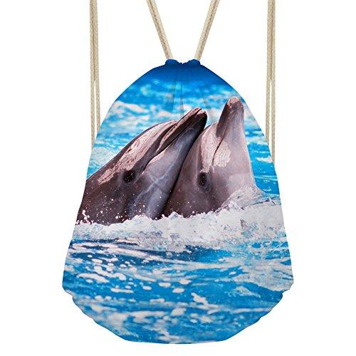 (Showudesigns Couple Dolphin Drawstring Shoulder Bag for Child Girls Boys School Book)