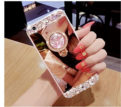 Glitter Diamond Makeup Mirror Case for Samsung Galaxy S8,Ostop Luxury Rhinestone Bling Crystal with Finger Ring Stand Holder Soft TPU Rubber Bumper Cover,Rose Gold-Diamond Ring