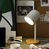 Bedside Table Lamp, Simple Solid Wood Lamp White Round Nightstand Lamp with Metal Cup Shade and Solid Wood Base for Bedroom, Dressing Table, Sitting Room, College Dormitory, Coffee Table, Bookcase