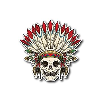 10561 native american indian skull sticker decal for car bumper motorcycles windows