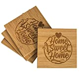 Coaster Set With Coaster Holder | Set of 4 | Protects Furniture From Drink Spills | Bamboo Table Coasters For Drinks | Housewarming Gifts | Home Sweet Home By Vulprien Creative