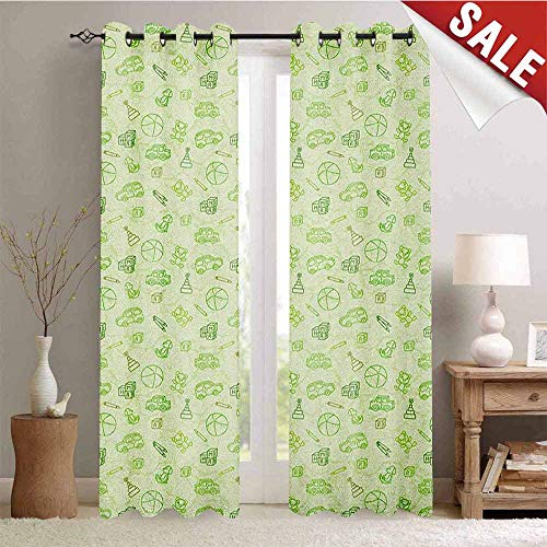 Hengshu Baby Customized Curtains Cartoon Doodle Drawing Style Funny Infant Toys Balls Cars Teddy Bears Crayons Pattern Blackout Window Curtain W84 x L108 Inch Pale Green -
