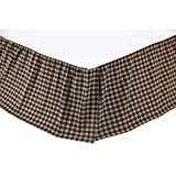 VHC Brands Classic Country Primitive Check Bed Skirt, Queen, Black
