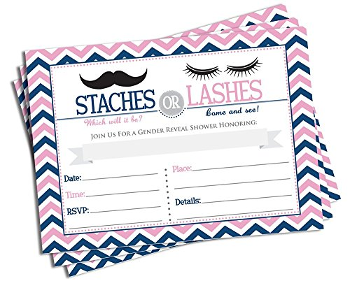 50 Gender Reveal Invitations and Envelopes - Staches or Lashes (Large Size 5x7) - Baby -