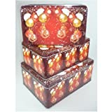 3 Cake Tins Set Christmas/Gift Boxes/Metal Biscuit Tins - Christmas Balls Set of 3 Different Sizes
