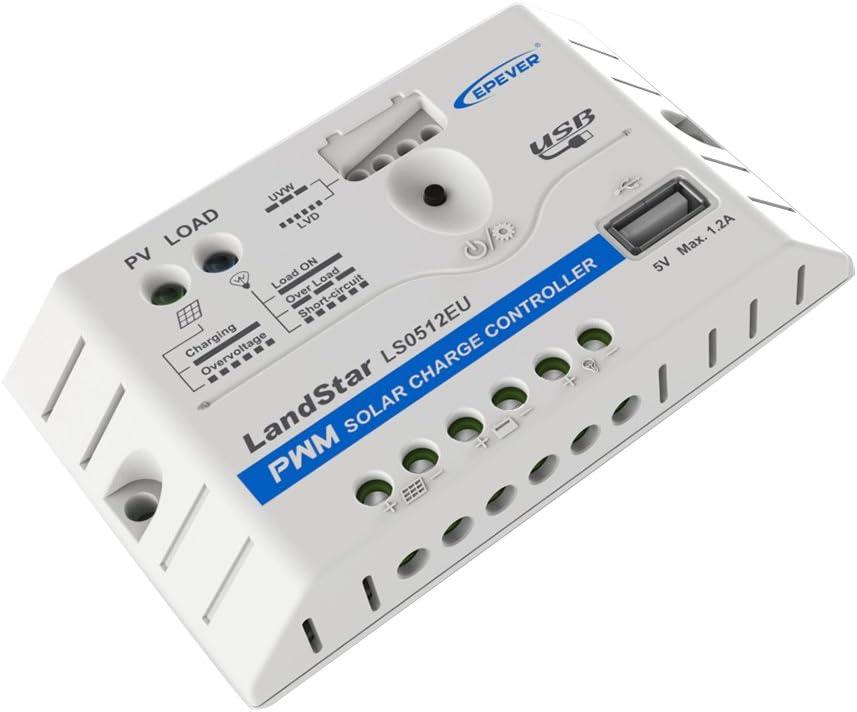 avec connecteur USB D/étection automatique 12/V//24/V 5/A, 12/V epever/® PWM r/égulateur de charge ls0512eu 1