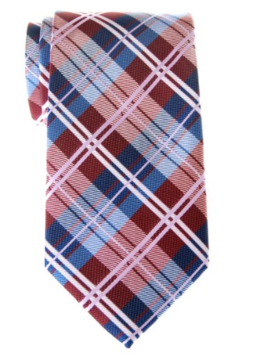 Retreez Elegant Tartan Check Woven Microfiber Men's Tie - Burgundy and Blue (Red Polyester Tie Plaid)