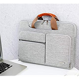 Lacdo 15.6 Inch Laptop Shoulder Bag, 360° Protective Computer Sleeve Carrying Case for 15-15.6 Acer Aspire 5, E 15, Predator Helios 300, Flagship, Inspiron, Ideapad 330, HP Pavilion, ASUS TUF, Gray