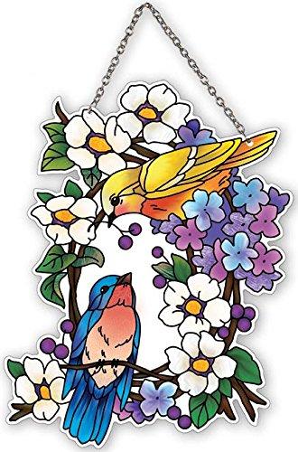 (Birds on a Wreath Painted Glass Suncatcher by Joan Baker 5.25