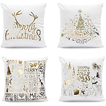 Johouse Christmas Pillow Covers, 4 Pack of High-Temperature Hot-Stamped Snowflakes Christmas Happy Decorative Sofa Pillowcase, 18 x 18 inches, Super-Soft Short Plush Fabric