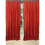"Mogul Bohemian Spanish Orange Tab Top Sari Curtain / Drape / Panel- Pair Window Treatment Ideas (Length: 84"")"