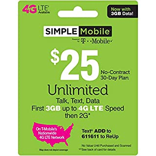 SIMPLE Mobile Refill Card - $25 ReUp Prepaid Airtime Card (Physical Card Shipped)