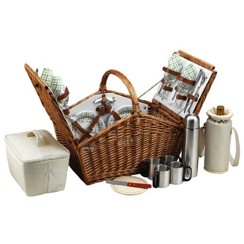 Picnic at Ascot Huntsman English-Style Willow Picnic Basket with Service for 4 and Coffee Set - Gazebo by Picnic at Ascot