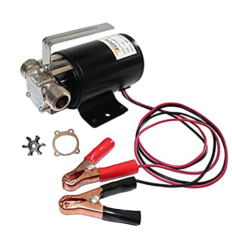 Trupow DC 12-Volt 1/10HP 330GPH Battery Powered Mini Portable Electric Utility Sump Transfer Water Pump with Water Hose - Bronze Transfer Pump