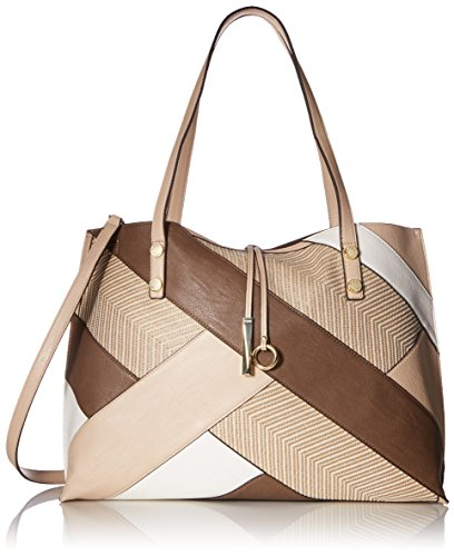 Calvin Klein Unlined Raffia Patchwork Reversible Tote, Wheat Combo